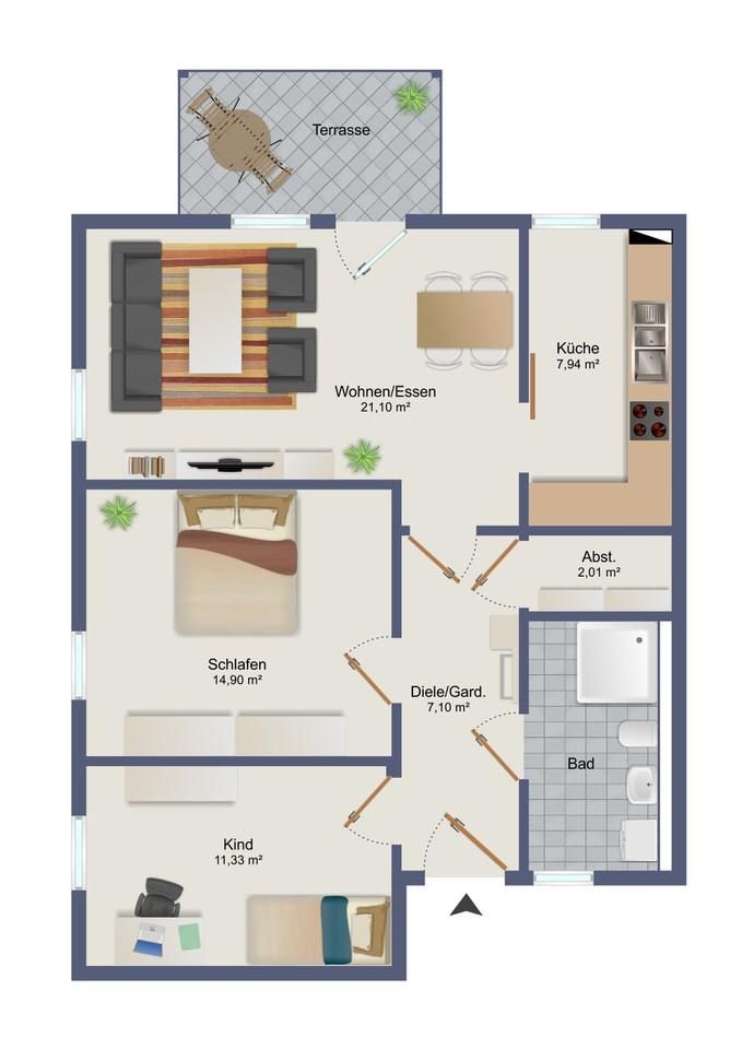 Wohnung 3 - Zum Glück Bötzow